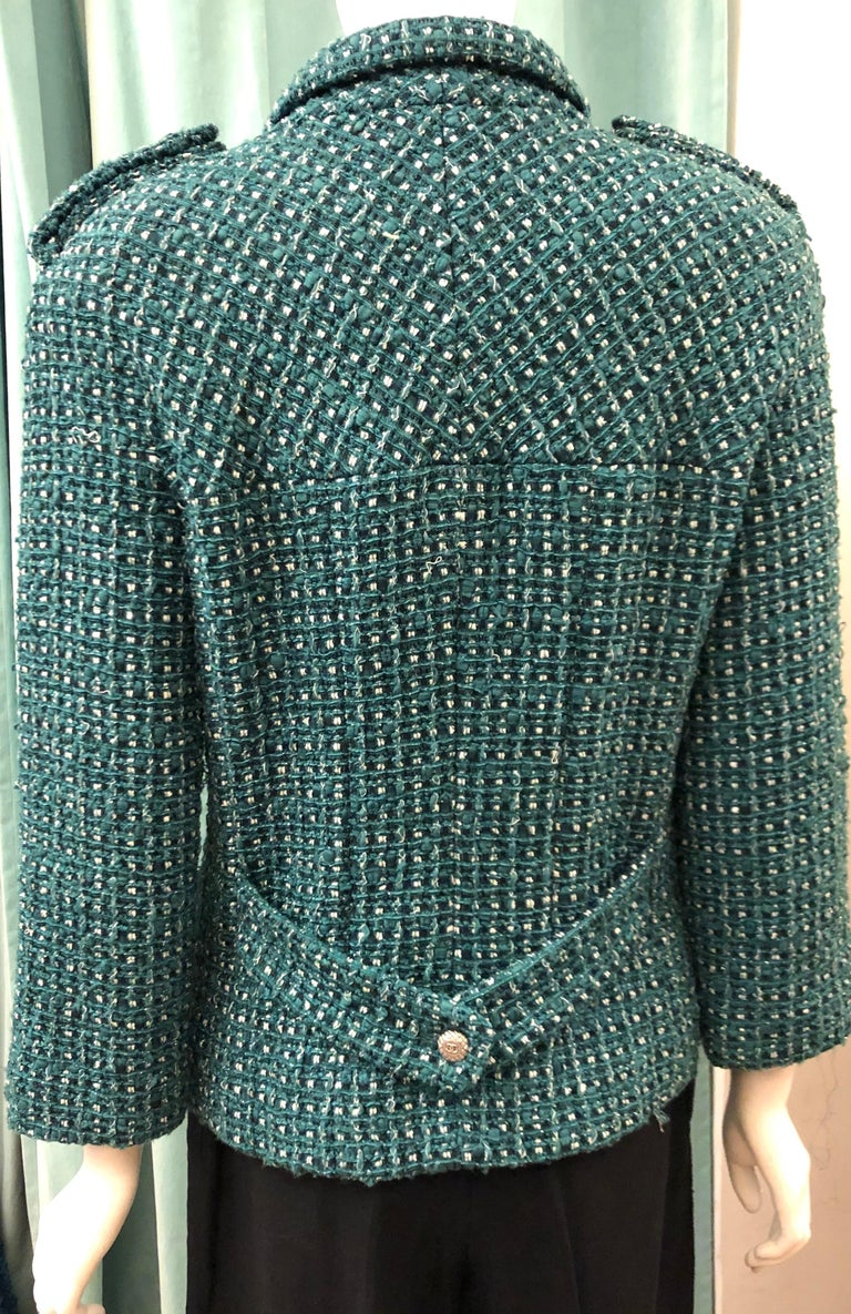 Chanel Green Tweed 3/4 Length Sleeves Jacket  For Sale 1