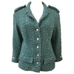 Chanel Green Tweed 3/4 Length Sleeves Jacket