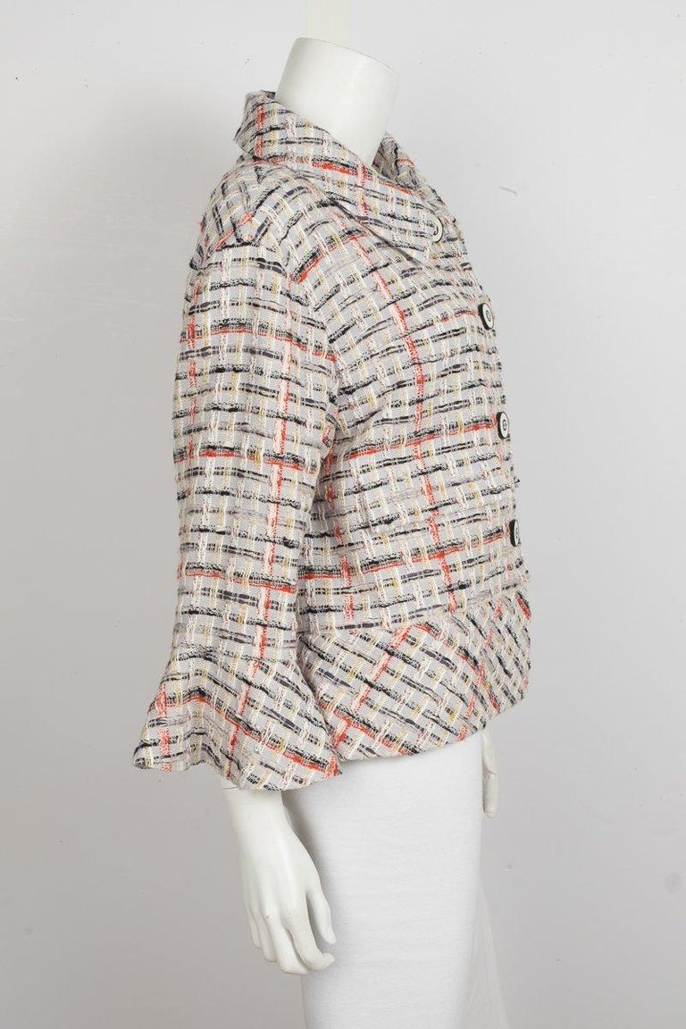 Gray CHANEL  Grey and Multi Color Tweed Jacket Sz 44 For Sale