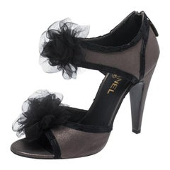 Chanel Grey/Black Nubuck And Satin Tulle Camellia Open Toe Sandals Size 39