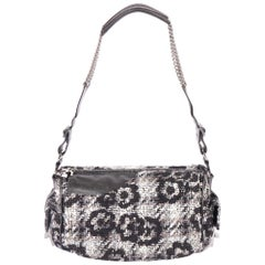 Chanel Grey Black Tweed Shoulder Bag