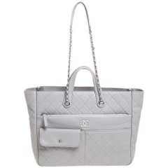 Chanel Grey Calf Leather Large Zipped Tote