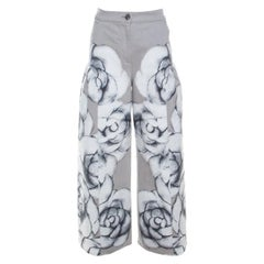 Chanel Grey Camellia Painted Denim High Waist Flared Jeans M