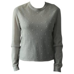 CHANEL Grey Cashmere and Mohair Pearl sweater