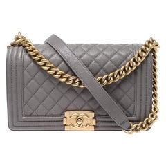 Chanel Grey Caviar Leather Medium Boy Flap Bag