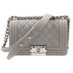 Chanel Grey Caviar Quilted Leather Silver Tone Metal Small Boy Flap Bag A67085