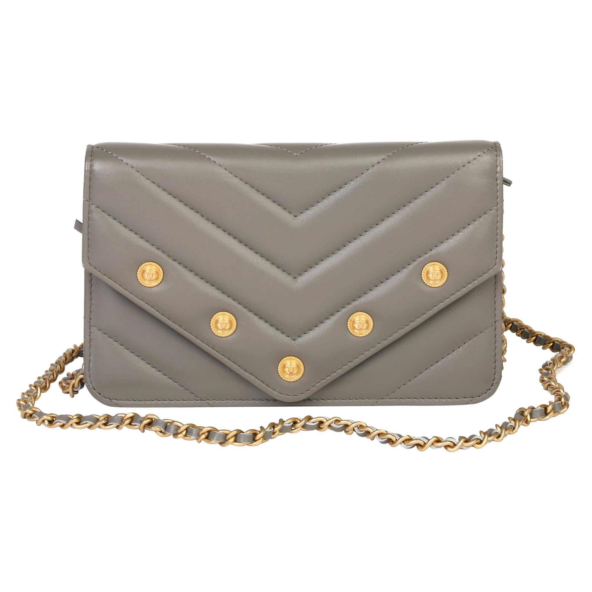Chanel Grey Chevron Quilted Studded Lambskin Envelope Wallet-on-Chain