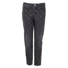 CHANEL grey cotton 2019 PRINTED DENIM SKINNY Jeans Pants 42 L