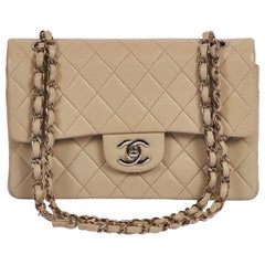 "Chanel Grey Cream 9"" Double Flap Silver Hardware Bag"