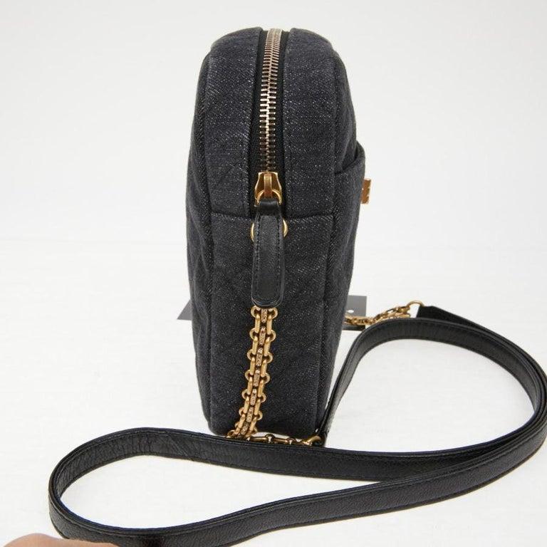 Black CHANEL Grey Denim Fabric Wallet Shoulder Bag For Sale