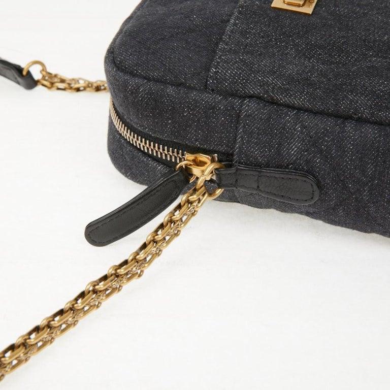 CHANEL Grey Denim Fabric Wallet Shoulder Bag For Sale 1