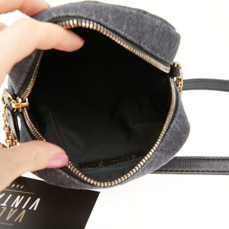 CHANEL Grey Denim Fabric Wallet Shoulder Bag For Sale 4