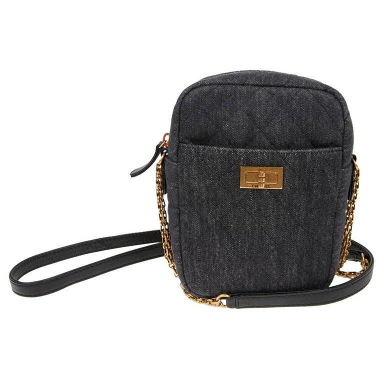 CHANEL Grey Denim Fabric Wallet Shoulder Bag For Sale