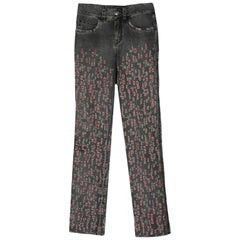 Chanel Grey Denim Jeans w/ Red Distressing sz FR34