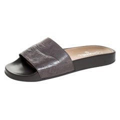 Chanel Grey Embossed Leather Lucky Charm Slides Size 40