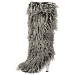 Chanel Grey Faux Fur Yeti Boots Size 38.5