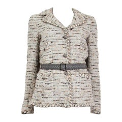 CHANEL grey & gold silk blend Boucle Tweed Belted Blazer Jacket 36 XS
