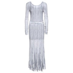 Chanel Grey Knit Lurex Detail Long Sleeve Maxi Dress M