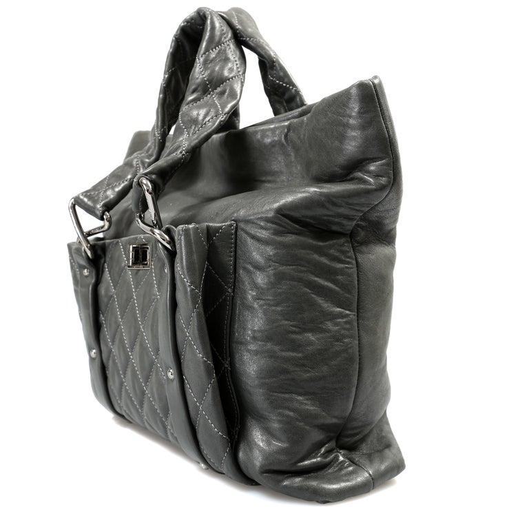 Chanel Grey Lambskin Eight Knots Tote In Excellent Condition For Sale In Palm Beach, FL