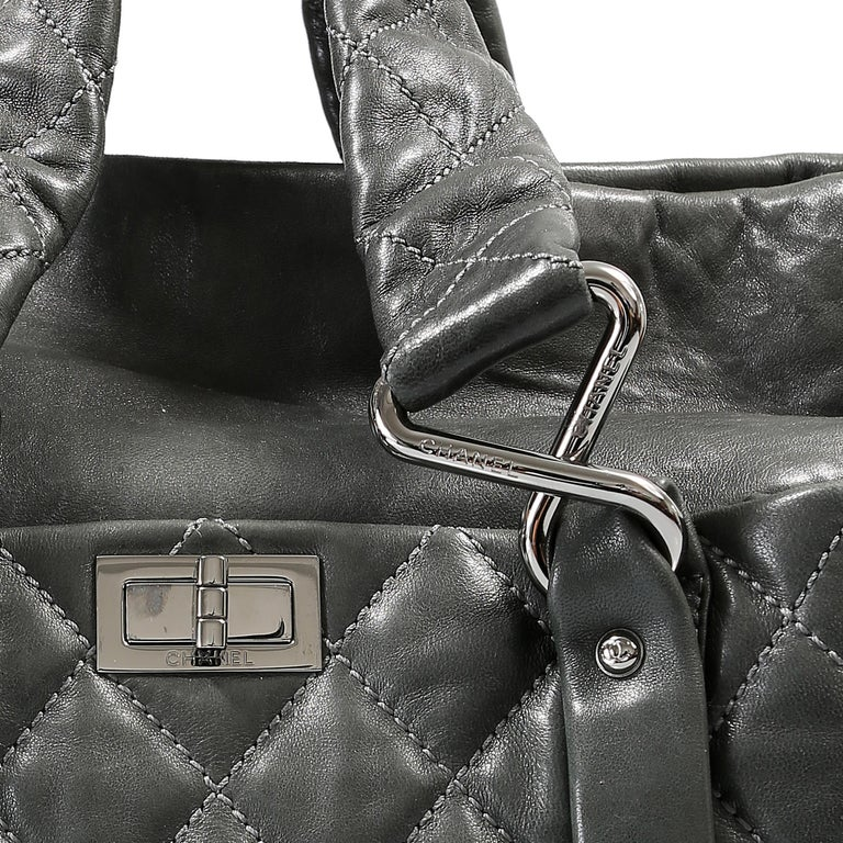 Chanel Grey Lambskin Eight Knots Tote For Sale 3