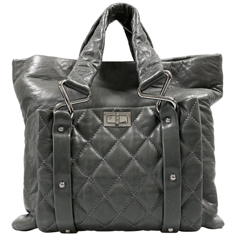 Chanel Grey Lambskin Eight Knots Tote For Sale