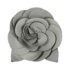 Chanel Grey Leather Camellia Brooch