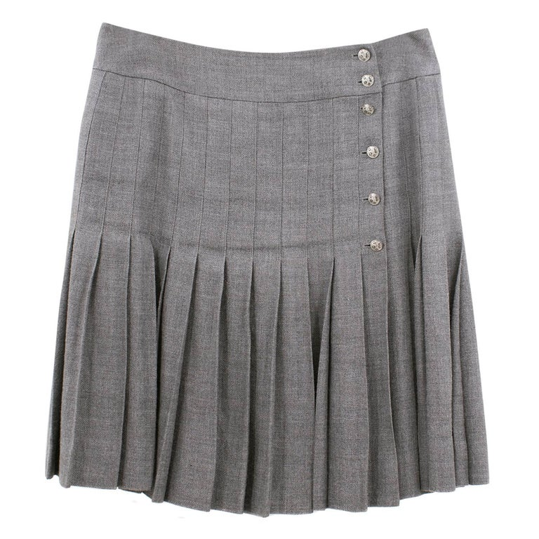 Chanel Grey Linen and Cashmere Pleated Skirt