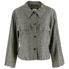 Chanel Grey Linen Short Jacket SIZE 44