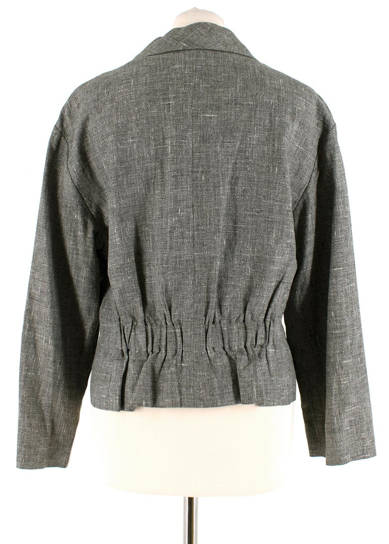 Gray Chanel Grey Linen Short Jacket - Size US 12 For Sale