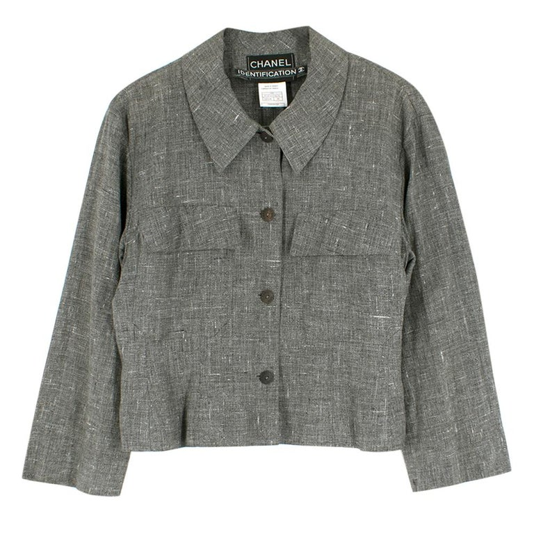 Chanel Grey Linen Short Jacket - Size US 12 In Excellent Condition For Sale In London, GB