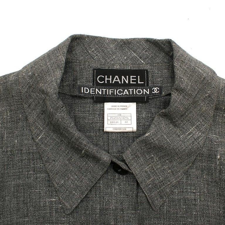Women's Chanel Grey Linen Short Jacket - Size US 12 For Sale