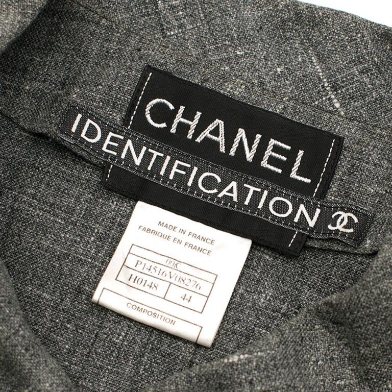 Chanel Grey Linen Short Jacket - Size US 12 For Sale 1