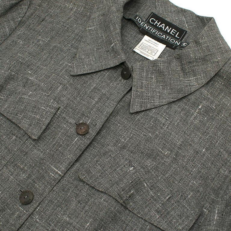 Chanel Grey Linen Short Jacket - Size US 12 For Sale 2