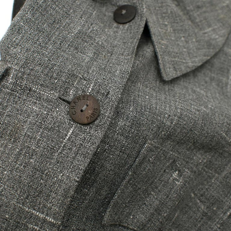 Chanel Grey Linen Short Jacket - Size US 12 For Sale 3