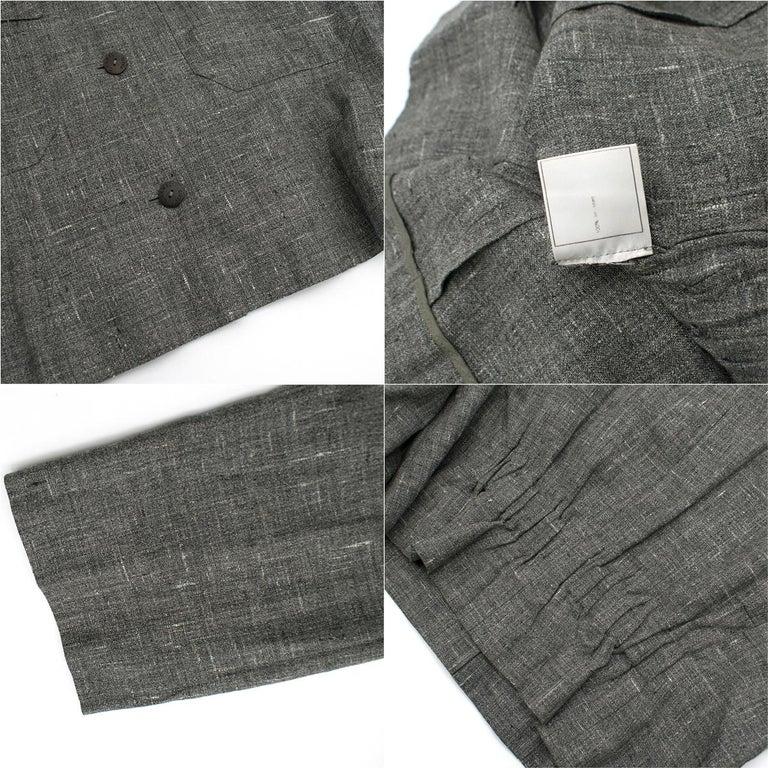 Chanel Grey Linen Short Jacket - Size US 12 For Sale 4