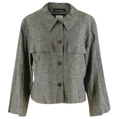 Chanel Grey Linen Short Jacket - Size US 12