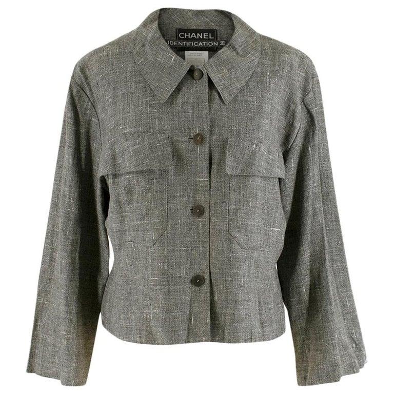 Chanel Grey Linen Short Jacket - Size US 12 For Sale