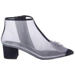 CHANEL grey meash & black grosgrain CAMELIA ANKLE Boots Shoes 38.5