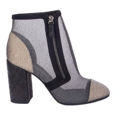 CHANEL grey meash & gold BLOCK HEEL ANKLE Boots Shoes 38.5