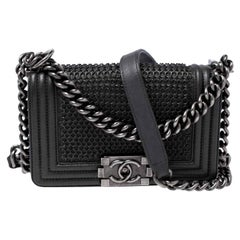 Chanel Grey Metal Mesh Leather Small Limited Edition Boy Flap Bag