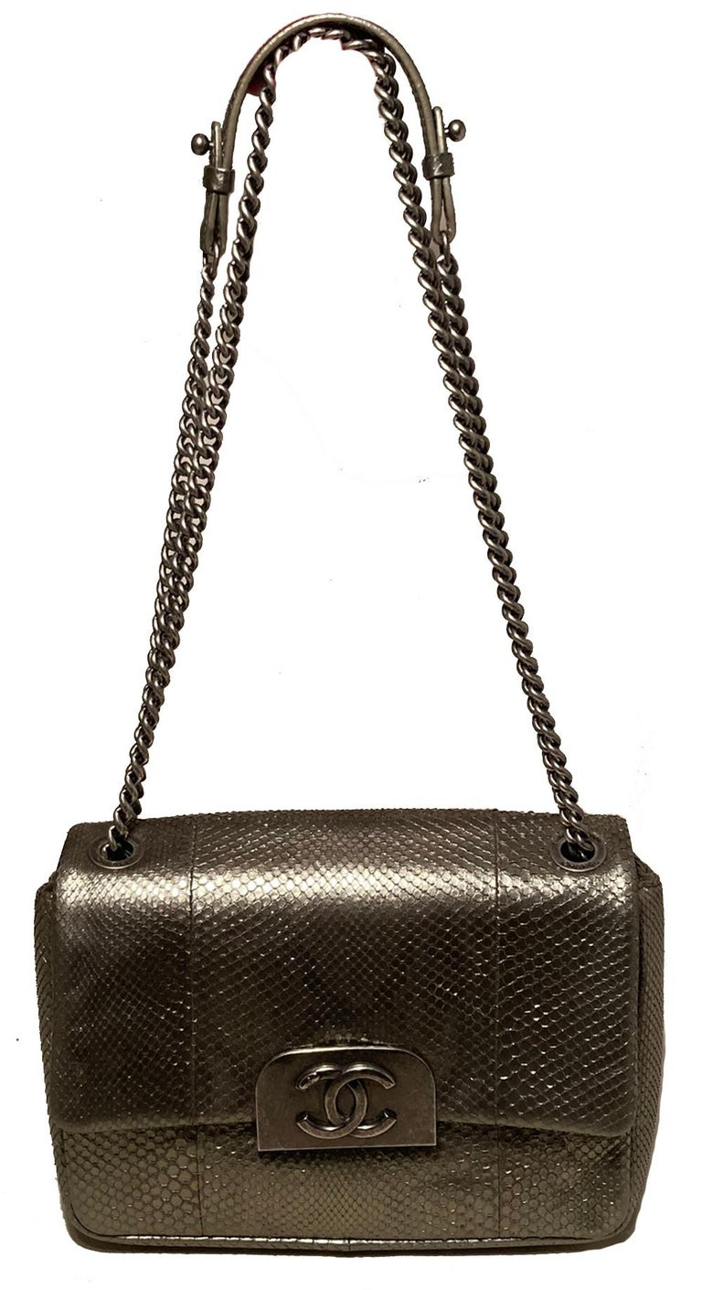Chanel Grey Metallic Python Shanghai Flap Bag  For Sale 7