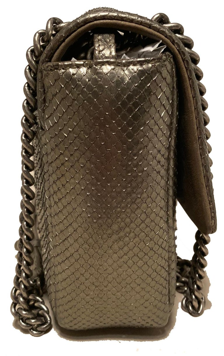 Chanel Grey Metallic Python Shanghai Flap Bag  In Excellent Condition For Sale In Philadelphia, PA
