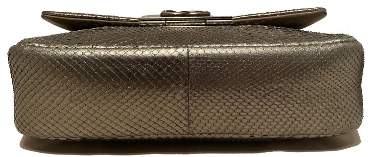 Women's Chanel Grey Metallic Python Shanghai Flap Bag  For Sale