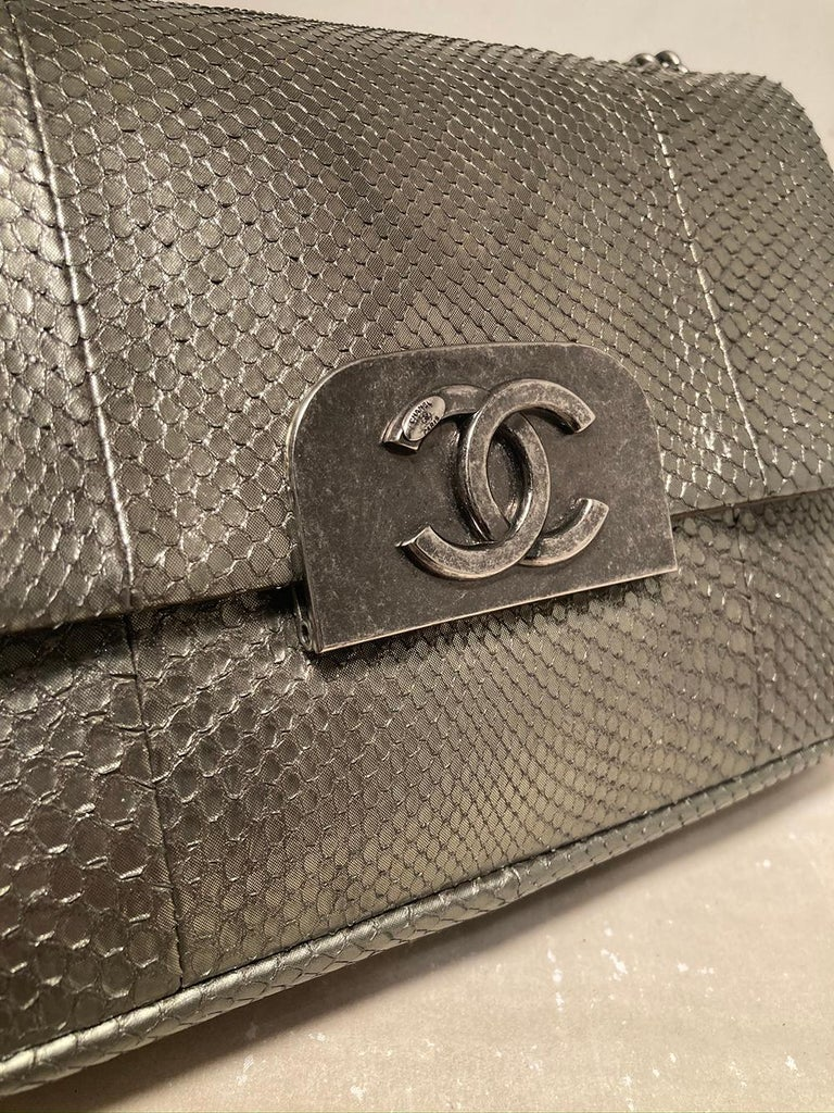Chanel Grey Metallic Python Shanghai Flap Bag  For Sale 1