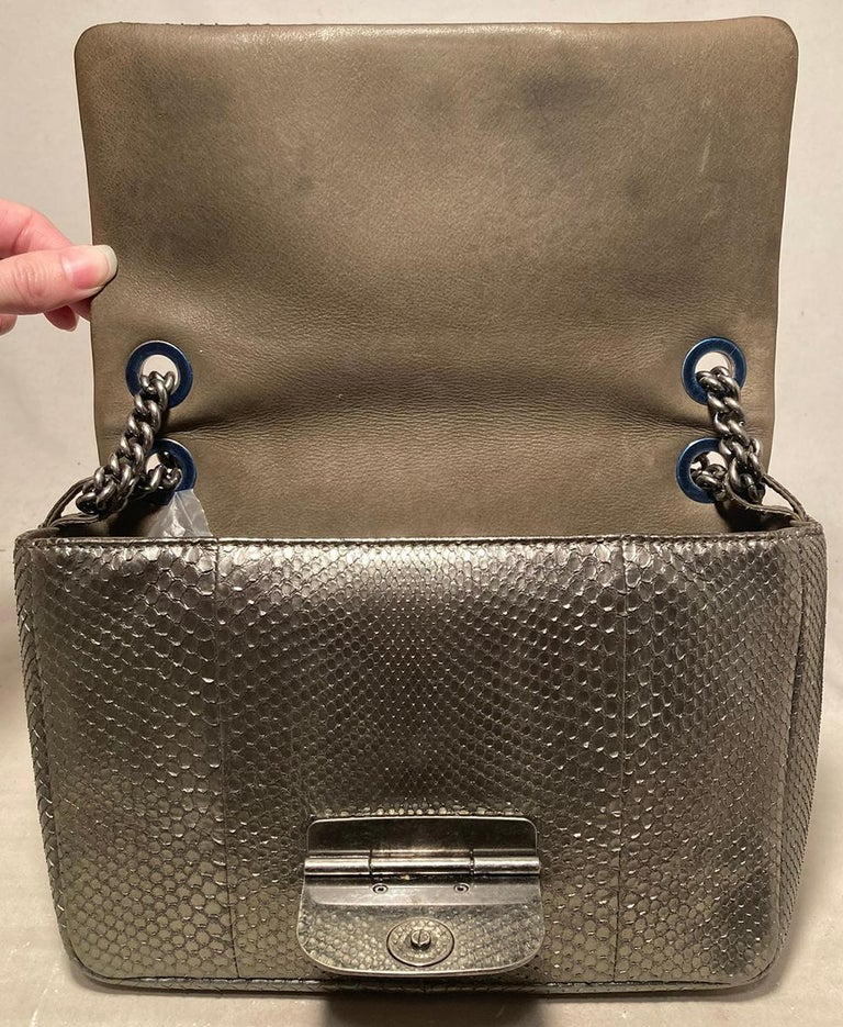 Chanel Grey Metallic Python Shanghai Flap Bag  For Sale 3