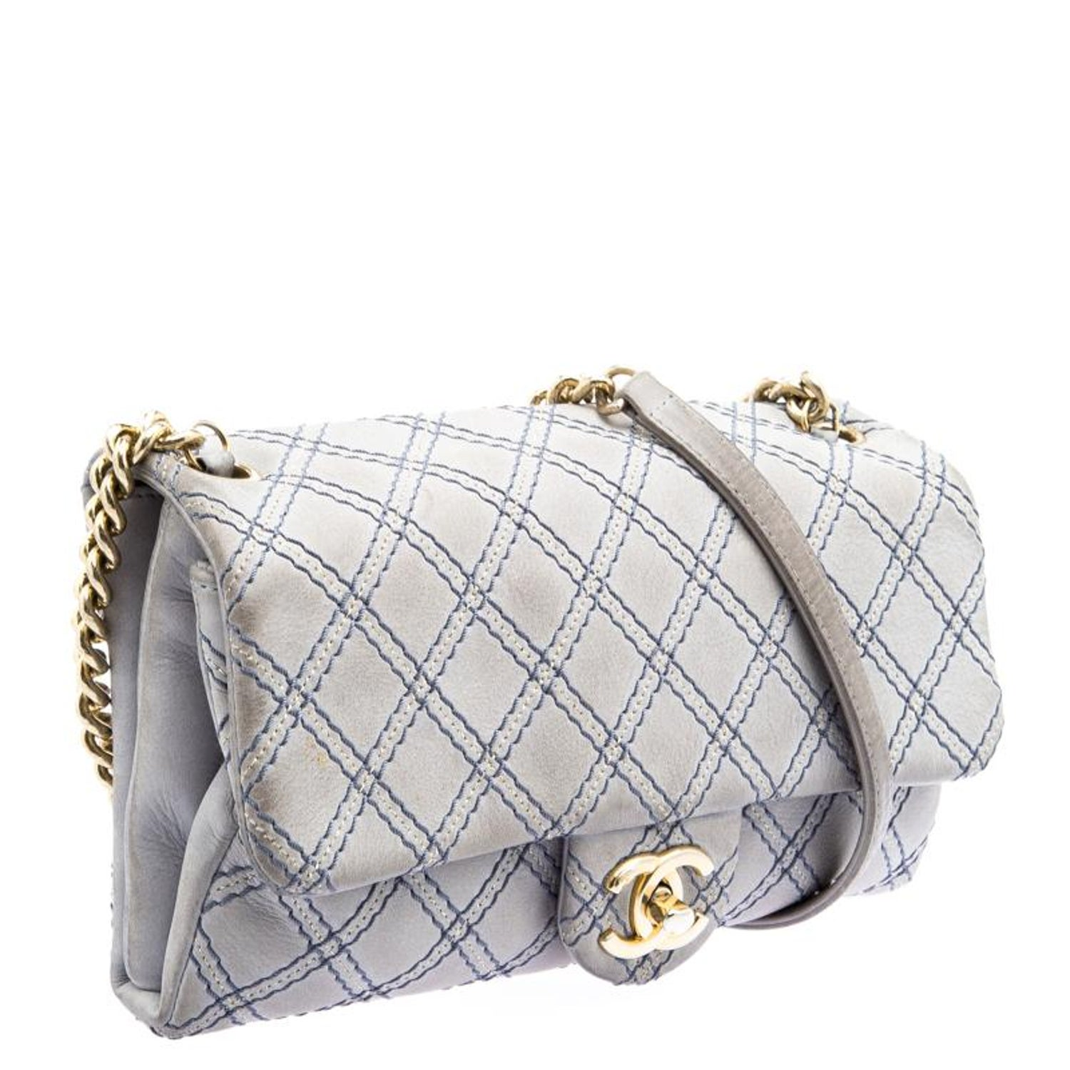 Chanel Grey Metallic Stitch Leather Small Classic Flap Bag For Sale at  1stdibs 63f31a281fe5f