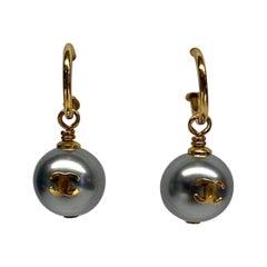 Chanel Grey Pearl Dangle Earrings