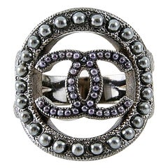 Chanel Grey Pearls Embellished CC  Ring.