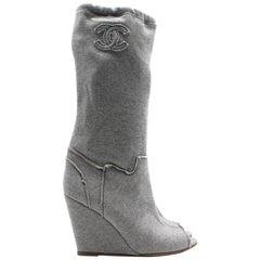 Chanel Grey Peep toe Wedge Boots 39