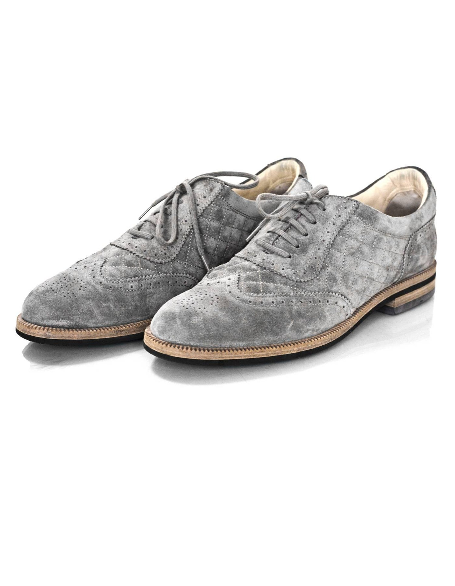 f554449a4699c Chanel Grey Perforated Quilted Suede Oxford's Sz 42 with Box For Sale at  1stdibs